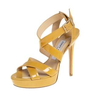 Jimmy Choo Dark Yellow Patent Leather Platform Sandals Size 35