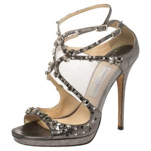 Jimmy Choo Metallic Leather and Mesh Embellished Sandals Size 40