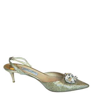 Jimmy Choo Gold Metallic Crystal Embellished Pointed Toe Pumps Size EU 41