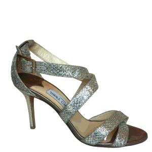 Jimmy Choo Metallic Gold Glitter Fabric Chiara Cross Strap Open Toe Pumps Size EU 38.5