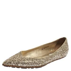 Jimmy Choo Gold Glitter Romy Pointed Toe Flats Size 36