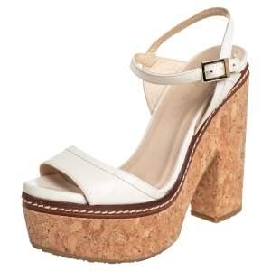 Jimmy Choo White Leather Nemesis Cork Platform Ankle Strap Sandals Size 37