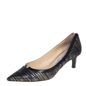 Jimmy Choo Multicolor Tweed And Black Leather Imogene Pumps Size 37