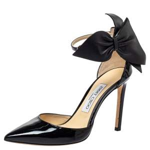Jimmy Choo Black Patent Leather Kelley Bow Pumps Size 36.5