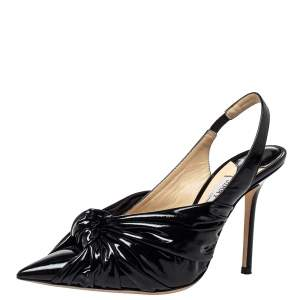 Jimmy Choo Black Patent Leather Annabell Sandals Size  38.5