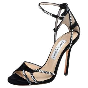 Jimmy Choo Suede Crystal Embellished Ankle Strap Sandals Size 34