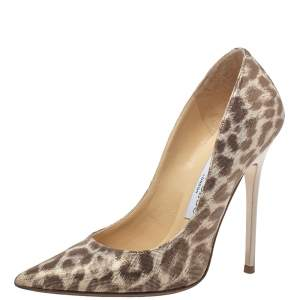 Jimmy Choo Beige Leopard Print Leather Anouk Pumps Size 34