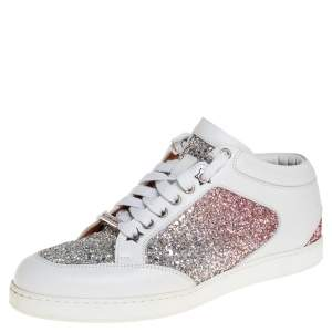 Jimmy Choo White Leather And Glitter Miami Sneakers Size 38
