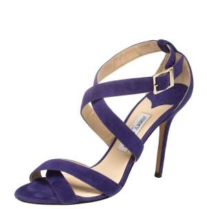 Jimmy Choo Purple Suede Strappy Sandals Size 41.5