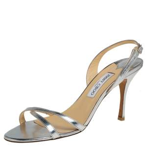 Jimmy Choo Silver Leather Ankle Strap Sandals Size 40.5