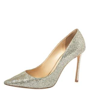 Jimmy Choo Metalic Silver Coarse Glitter Romy Pumps Size 40