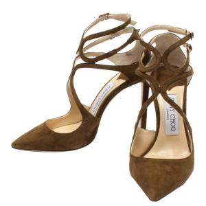 Jimmy Choo Olive Green Suede Lancer 85 Pointed Toe Sandals Size 35