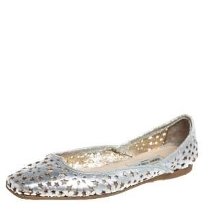 Jimmy Choo Silver Leather Laser Cut Ballet Flats Size 41