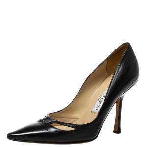 Jimmy Choo Black Leather Cut-Out Pointed Toe Pumps Size 36