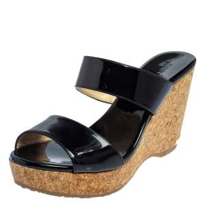 Jimmy Choo Black Patent Leather Cork Parker Wedge Sandals Size 40