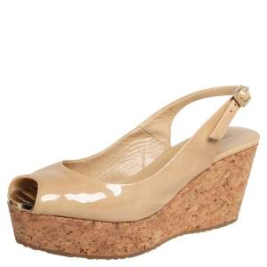 Jimmy Choo Beige Patent Leather  Cork Wedge Sandals Size 39