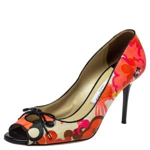 حذاء كعب عالى جيمى تشو مقدمة مفتوحة فيونكة كانفاس طباعة  زهور متعدد الألوان مقاس 40