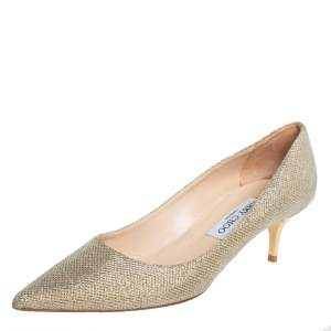 Jimmy Choo Gold Glitter And Lurex  Pointed Toe Pumps Size 39
