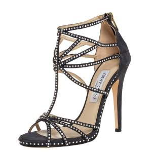 Jimmy Choo Black Suede Leather Vendetta Crystal Embellished Strappy Sandals Size 37