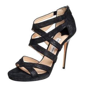 Jimmy Choo Black Suede Strappy Sandals Size 41