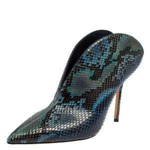 Jimmy Choo Blue/Black Python Loris Mule Sandals Size 39