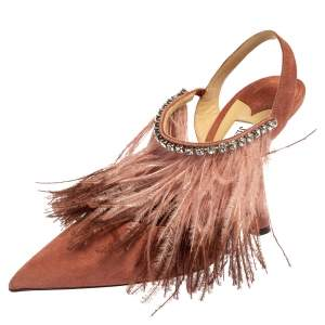 Jimmy Choo Pink Feather And Suede Ambre Pumps Size 40