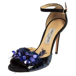 Jimmy Choo Black/Blue Suede And Feather Annie Embellished Sandals Size 39