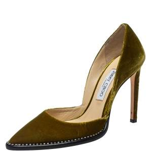 Jimmy Choo Green Velvet Babette Pointed Toe Pumps Size 39