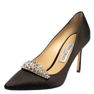 Jimmy Choo Black Satin Crystal Embellished Pumps Size 39