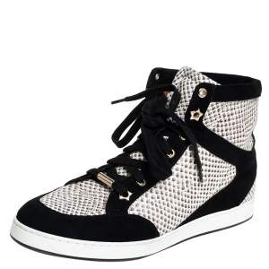 Jimmy Choo White/Black Suede And Snakeskin Embossed High Top Sneakers Size 38.5