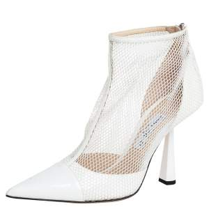 Jimmy Choo White Patent Leather And Mesh Kix Booties Size 40