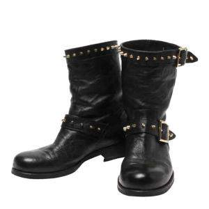 Jimmy Choo Black Leather Dash Biker Boots Size EU 37