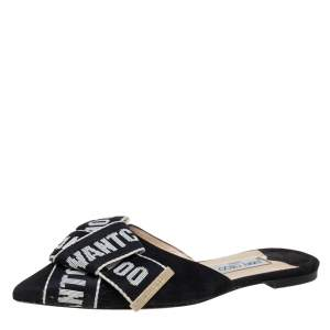 Jimmy Choo Black/White Suede And Canvas Gretchen Logo Mule Sandals Size 39