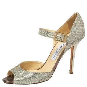 Jimmy Choo Silver Glitter Mary Jane Open Toe Pumps Size 38
