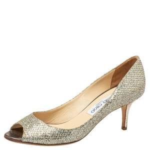 Jimmy Choo Metallic Gold Glitter Isabel Peep Toe Pumps Size 38