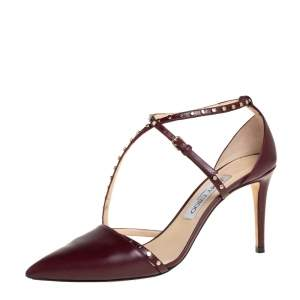 Jimmy Choo Burgundy Leather Studded Tiff Ankle Strap Pumps Size 38.5