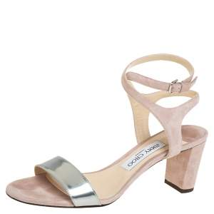 Jimmy Choo Pink/Silver Leather and Suede Marine 65 Ankle Strap Sandals Size 39