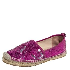 Jimmy Choo Pink Sequin Espadrille Flats Size 38.5