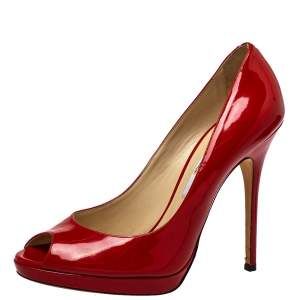 Jimmy Choo Red Patent Leather Peep Toe  Pumps Size 40