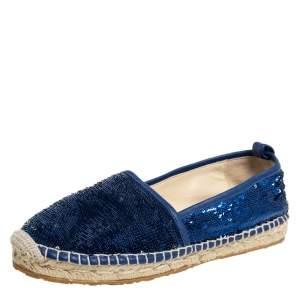 Jimmy Choo Blue Sequin Paksa Flat Espadrilles Size 38