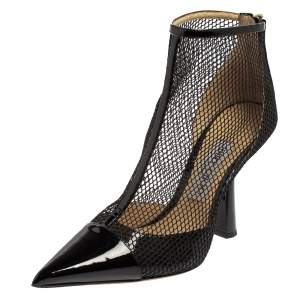 Jimmy Choo Black Mesh And Patent Leather Ankle Boots Size 37