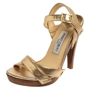 Jimmy Choo Metallic Gold Leather Criss Cross Strap Sandals Size 36