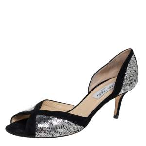 Jimmy Choo Black/Silver Suede And Sequin Teton D'orsay Pumps Size 40