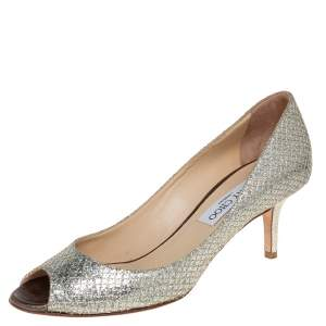 Jimmy Choo Metallic Silver Glitter Fabric Peep Toe Pumps Size 37