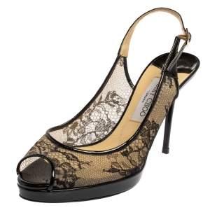 Jimmy Choo Black Lace And Patent Leather Nova Peep Toe Slingback Sandals Size 39.5