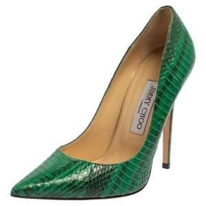 حذاء كعب عالى جيمى تشو مقدمة مدببة جلد نقش ثعبان أخضر مقاس 38