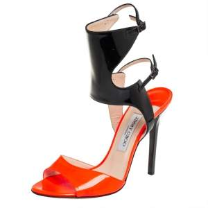 Jimmy Choo Orange/Black Patent Leather Loop Ankle Cuff Open Toe Sandals Size 40