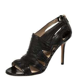 Jimmy Choo Black Leather Cutout Open Toe Booties Size 39.5