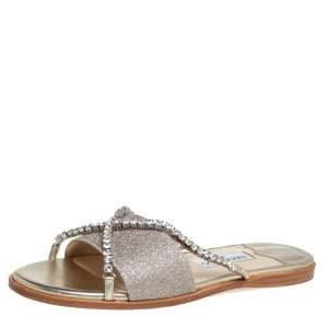 Jimmy Choo Metallic Gold Glitter Aadi Crystal Embellished Flats Size 41