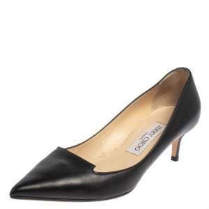 حذاء كعب عالى جيمى تشو مقدمة مدببة أفريل جلد أسود مقاس 36.5